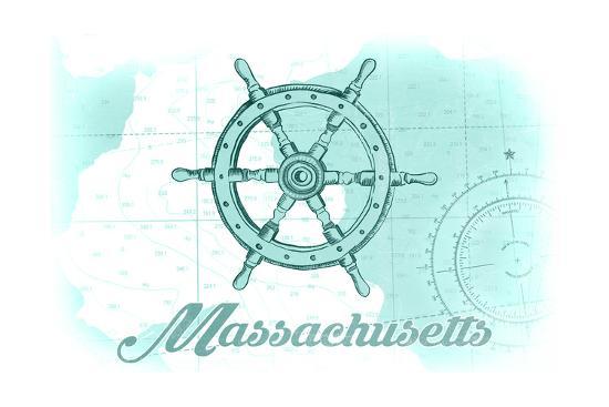 Massachusetts - Ship Wheel - Teal - Coastal Icon-Lantern Press-Art Print
