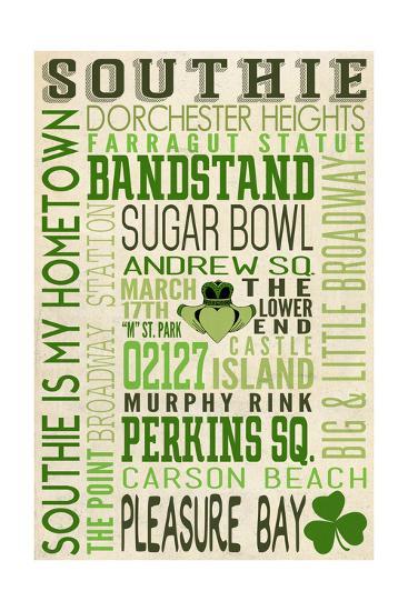 Massachusetts - Southie Typography-Lantern Press-Art Print