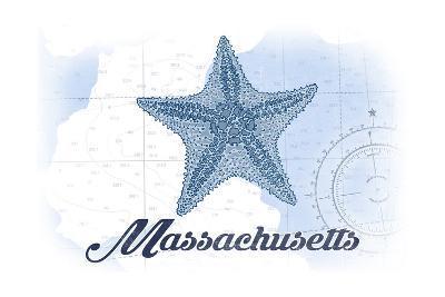 Massachusetts - Starfish - Blue - Coastal Icon-Lantern Press-Art Print