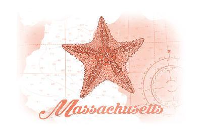 Massachusetts - Starfish - Coral - Coastal Icon-Lantern Press-Art Print