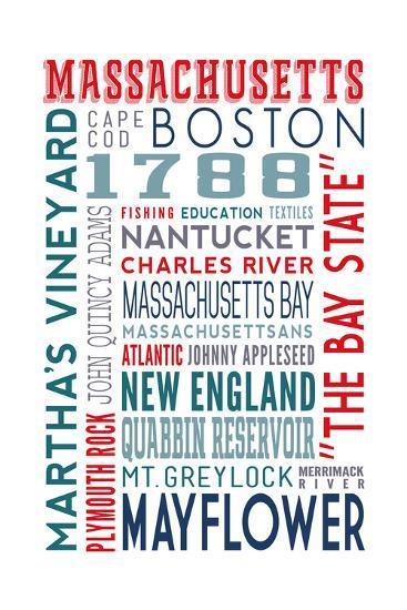 Massachusetts - Typography-Lantern Press-Art Print