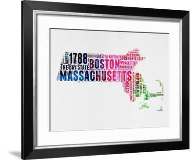 Massachusetts Watercolor Word Cloud-NaxArt-Framed Art Print