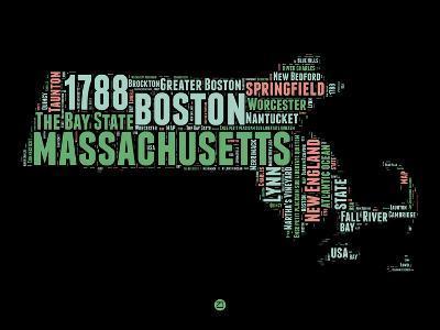 Massachusetts Word Cloud 1-NaxArt-Art Print