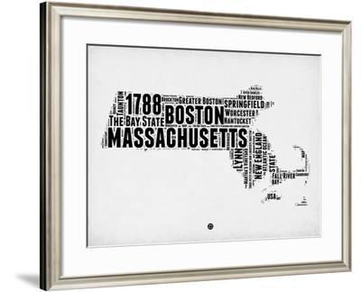 Massachusetts Word Cloud 2-NaxArt-Framed Art Print