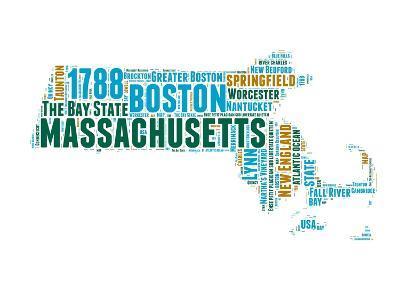 Massachusetts Word Cloud Map-NaxArt-Art Print