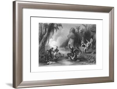 Massacre in the Boats Off Cawnpore, 1857--Framed Giclee Print