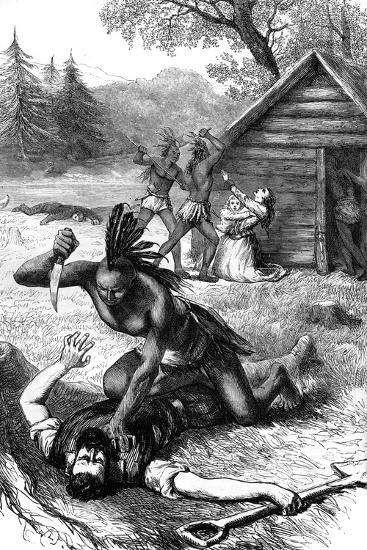 Massacre of Settlers by Native Americans, C17th Century--Giclee Print