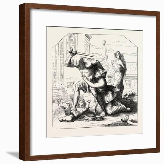 Massacre of the Innocents by Nicolas Poussin: Primitive Sketch. 1855--Framed Giclee Print