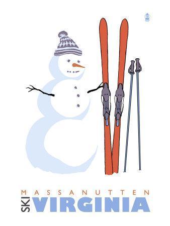 Massanutten, Virginia, Snowman with Skis-Lantern Press-Art Print