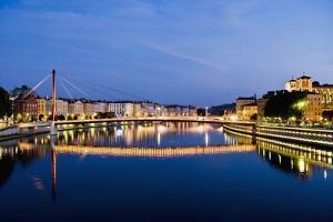Palais Du Justice Footbridge Reflecting on the Saone by Massimo Borchi