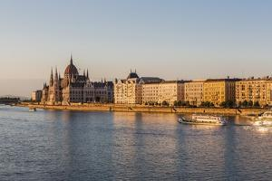 Pest, the River Danube and the Hungarian Parliament Building by Massimo Borchi