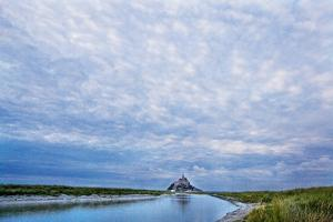 View near Fortified Town during Low Tide, Mont Saint Michel, Lower Normandy, France by Massimo Borchi