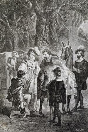 Ettore Fieramosca and Donna Elvira, Illustration from Ettore Fieramosca or Challenge of Barletta