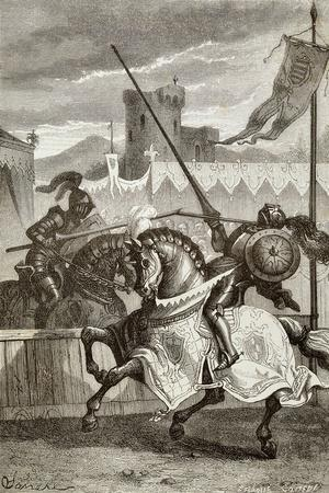 Two Knights Fighting Duel, Illustration for Ettore Fieramosca