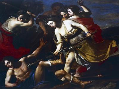 Orpheus Beaten by Bacchantes