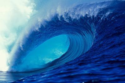Massive Empty Breaker Ready for the Next Surfer Tahiti-Tony Harrington-Photographic Print