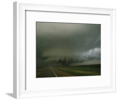 Massive F4 Category Tornado Rampages Towards a Storm Chaser's Van-Peter Carsten-Framed Photographic Print