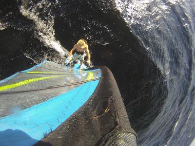Mast Mounted Shot of a Man Windsurfing on Sebago Lake-Skip Brown-Photographic Print