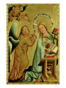 The Annunciation from the High Altar of St. Peter's in Hamburg, the Grabower Altar, 1383 by Master Bertram of Minden