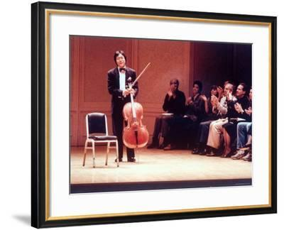 "Master Cellist Yo-Yo Ma with Stradivarius Cello Receiving Applause after performing ""Cello Suites""-Ted Thai-Framed Premium Photographic Print"