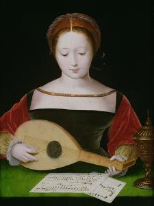 Mary Magdalene Playing a Lute by Master of the Female Half Lengths