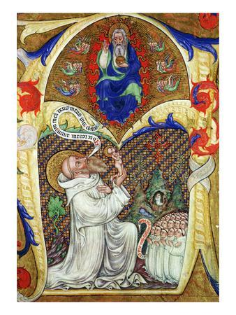 Historiated Initial 'A' Depicting St. Benedict Offering His Soul to God the Father, Lombardy School