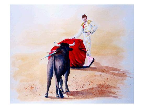 Matador Holds Red Cape Up to Bull-Rich LaPenna-Giclee Print
