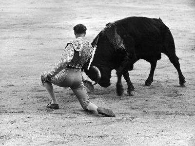 Matador Julian Marin and Bull in the Ring for a Bullfight During the Fiesta de San Ferman-Tony Linck-Premium Photographic Print