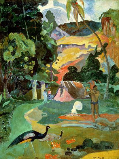Matamoe Or, Landscape with Peacocks, 1892-Paul Gauguin-Premium Giclee Print