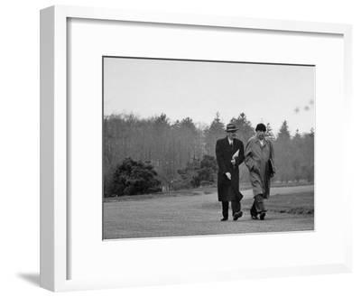 Mathematicians Albert Einstein and Kurt Godel Taking a Walk-Leonard Mccombe-Framed Premium Photographic Print