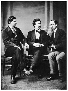 Alfred Townsend, Mark Twain and David Gray, 1871 by MATHEW B BRADY