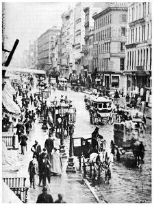 Broadway and Spring Street, New York City, USA, 1867 by MATHEW B BRADY