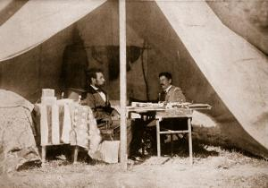 The Last Interview Between President Lincoln and General Mcclellan at Antietam, 1862 by Mathew Brady