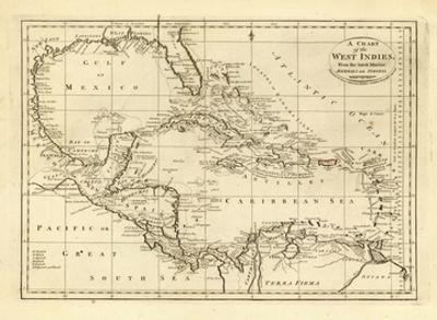 Chart of the West Indies, c.1811 by Mathew Carey