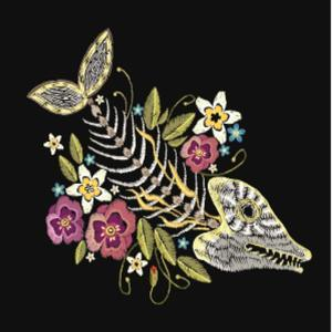 Embroidery Fish Bone and Flowers Gothic Art Background. Embroidery Summer Flowers and Skeleton of F by matrioshka
