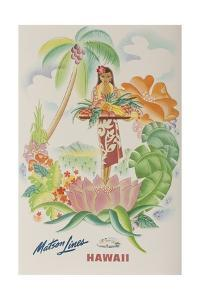 Matson Lines Travel Poster, Hawaii Native with Tropical Fruit