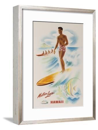 Matson Lines Travel Poster Hawaii Surfer