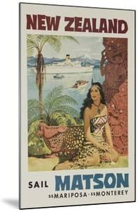 Matson Lines Travel Poster, New Zealand