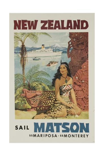 Matson Lines Travel Poster, New Zealand--Giclee Print