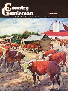 """""""Cattle in Barnyard,"""" Country Gentleman Cover, October 1, 1945 by Matt Clark"""