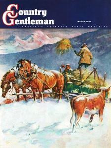"""""""Feeding Herd in Winter,"""" Country Gentleman Cover, March 1, 1945 by Matt Clark"""