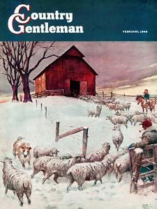 """Herding Sheep into Barn,"" Country Gentleman Cover, February 1, 1946 by Matt Clark"