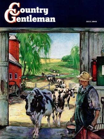 """""""Milking Time,"""" Country Gentleman Cover, July 1, 1946 by Matt Clark"""