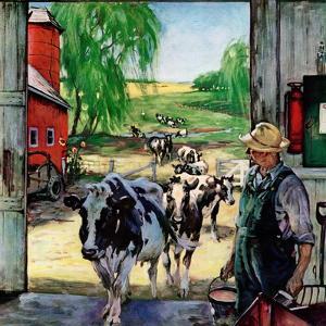 """""""Milking Time,""""July 1, 1946 by Matt Clark"""