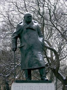 Snow is Seen on a Statue of the Late British Prime Minister Sir Winston Churchill by Matt Dunham