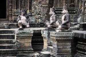 Cambodia, Angkor Wat. Banteay Srei Temple, Three Monkey Statues by Matt Freedman