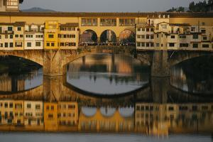 A Crowd of Tourists on the Ponte Vecchio in Florence, Italy by Matt Propert