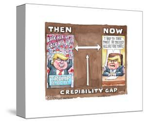 Lock her up! Trump 2016. Now. I had to fire Comey. He treated Hillary very badly. Credibility gap. by Matt Wuerker