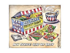 Tea Party Deficit Hawk. Pure Fiscal Conservatism. Culture Warrior Tea Party Tea. by Matt Wuerker