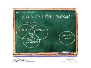 This week's Venn diagram. Integrity. Honesty. Humility. Self-awareness. Donald J. Trump. by Matt Wuerker